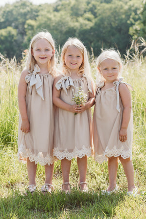Three Little Girls in Bohemian Pillowcase Dresses