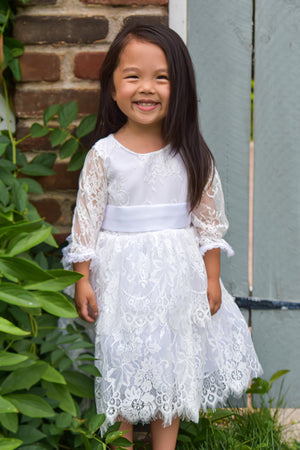 Luna Ruffled Lace Baptism Gown