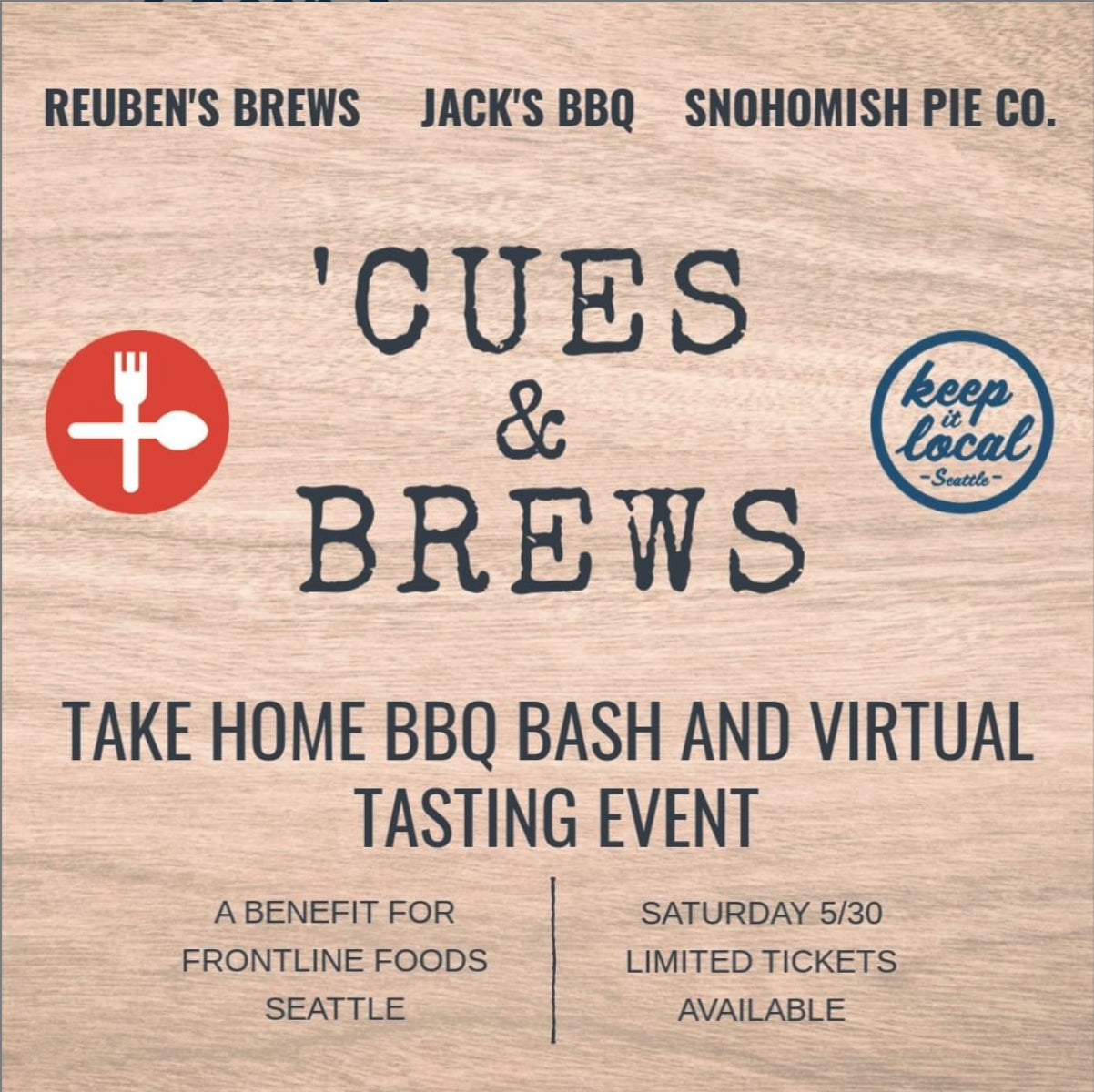 'CUES & BREWS benefitting Frontline Foods - SOLD OUT!