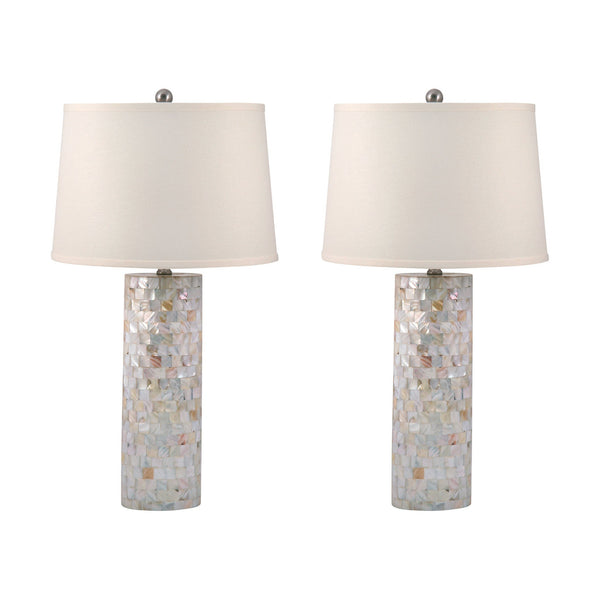 Lamp Works Mother Of Pearl Cylinder Table Lamps - Set Of 2