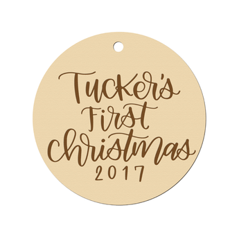 CUSTOM BABY'S FIRST CHRISTMAS ENGRAVED ORNAMENT