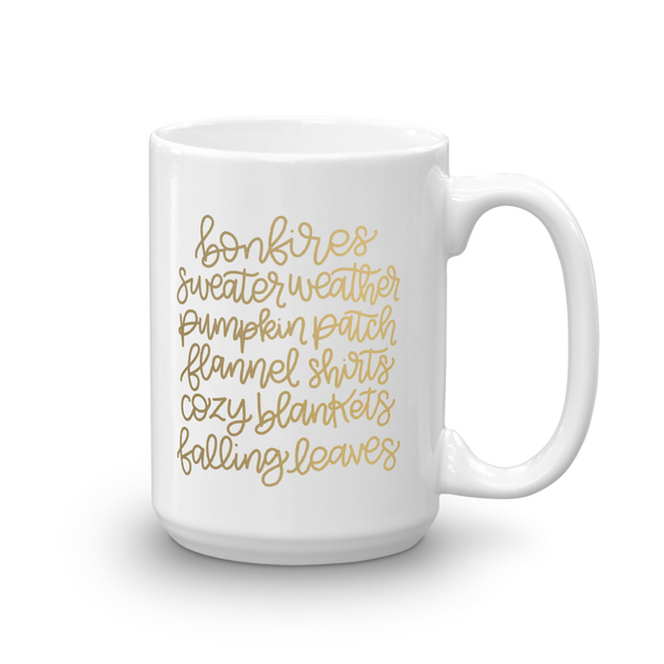 JOYS OF FALL GOLD FOIL MUG