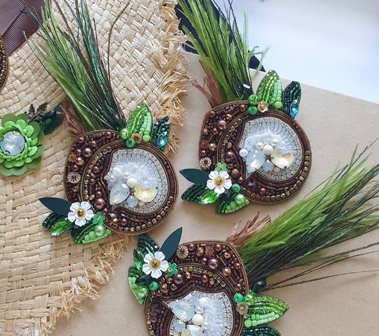 Coconut Brooch