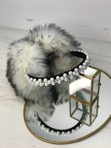 Faux Fur Handbeaded Earmuffs