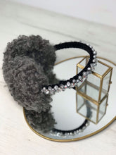 Load image into Gallery viewer, Grey Curly Faux Fur Handbeaded Earmuffs