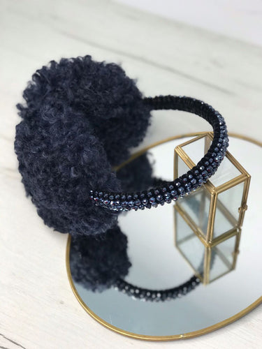 Blue Curly Faux Fur Handbeaded Earmuffs