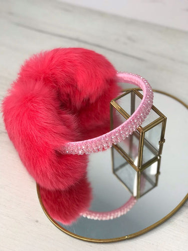 Pink Rabbit Fur Handbeaded Earmuffs