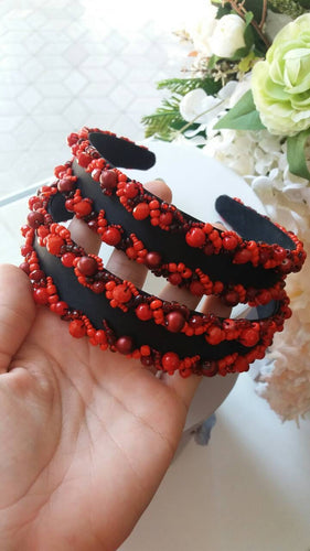 Fancy Red And Black Headband
