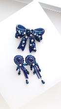 Load image into Gallery viewer, Set of Blue Bow and Earrings