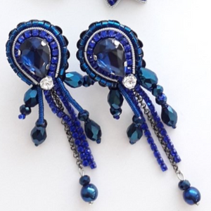 Set of Blue Bow and Earrings