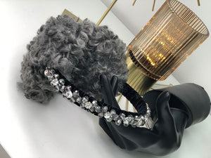 Grey Curly Faux Fur Handbeaded Earmuffs