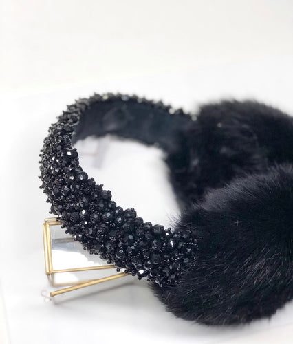 Black Rabbit Fur Earmuffs with Swarovski crystals