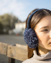 Load image into Gallery viewer, Blue Curly Faux Fur Handbeaded Earmuffs