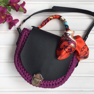 Purple Cotton Bag with Black Front and Strips