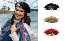 Load image into Gallery viewer, Black Beaded Beret