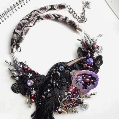 Black Raven Crow Necklace