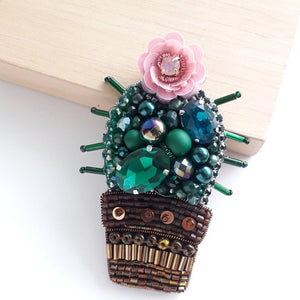 Cute Cactus Brooch with Pink Flower