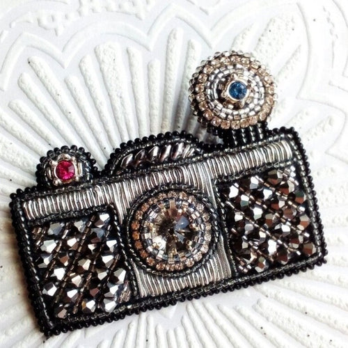 Black and Silver Vintage Style Camera Brooch