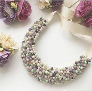 Mint Necklce with Ribbons