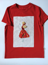 Load image into Gallery viewer, Tshirt with Blond lady in Red