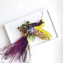 Load image into Gallery viewer, Bird Colibri Brooch in Yellow and Dark Purple