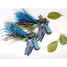 Load image into Gallery viewer, Hummingbird Brooch in Blue with Ostrich Feathers