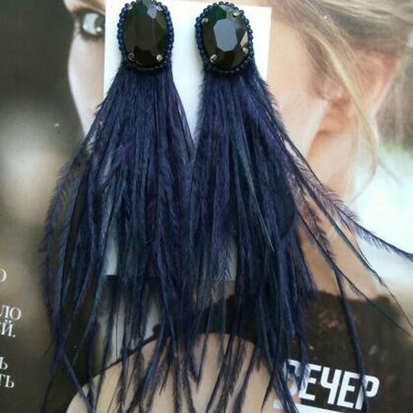 Blue Feathers Earrings