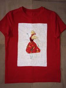 Tshirt with Blond lady in Red