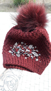 Beaded Handmade Hat and gloves