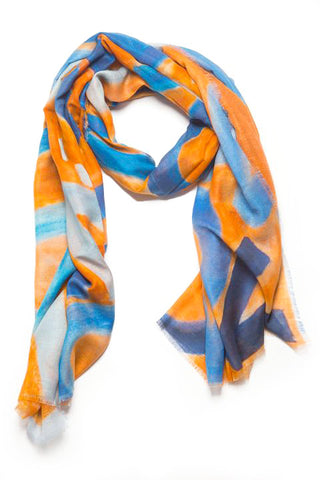 LOVEVOLVE Scarf: Orange & Blue, Cashmere/Modal