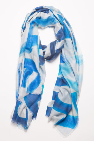 LOVE Layers Scarf - Blue/White  Large  40 in wide x 78 in long with fringed edges  10%Cashmere /90% Modal    LOVE Layers © artwork copyrighted by Sunny Stack Goode