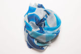 Cashmere & Modal LOVE Scarf: Large White & Blue