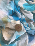 Cotton, Linen & Modal LOVE Scarf: Large Blues