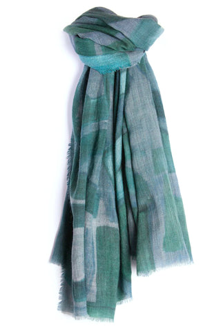 LOVEVOLVE® Scarf: Greens, Wool/Silk