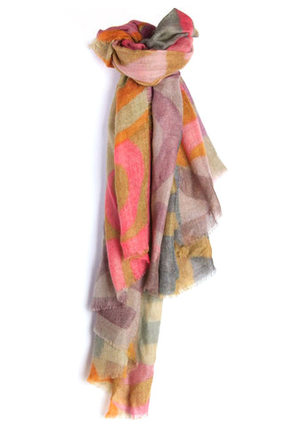LOVEVOLVE® Scarf: Pink & Orange, 100% Cashmere