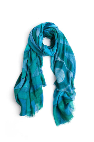 LOVEVOLVE® Scarf: Greens, Cashmere/Modal  Large