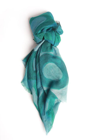 LOVEVOLVE® Scarf: Greens, Cashmere/Modal Small