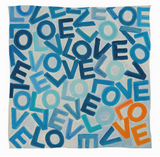 Cashmere & Modal One LOVE Foundation Scarf: Small Blue & White with one Orange LOVE