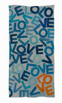 Wool & Silk One LOVE Foundation Scarf: Large Blue with one Orange LOVE