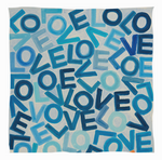 Cashmere & Modal LOVE Scarf: Small Blue & White