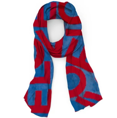 LOVEVOLVE® Scarf: Red, White & Blue, Wool/Silk