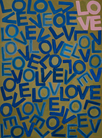 Original Artwork: LOVEVOLVE - Navy & Olive with one Pink LOVE