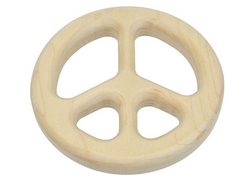 Peace Sign  Wooden Baby Teether