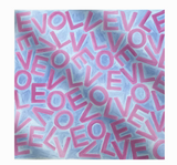 Silk LOVE Scarf: Small Blue & Magenta