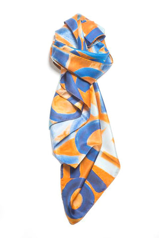 LOVEVOLVE® Scarf: Blue & Orange, Silk