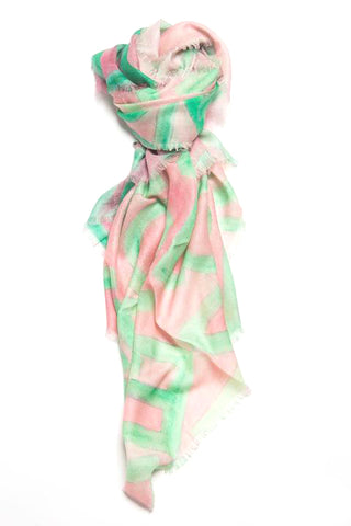 LOVEVOLVE® Scarf: Pink & Green, Cashmere/Modal