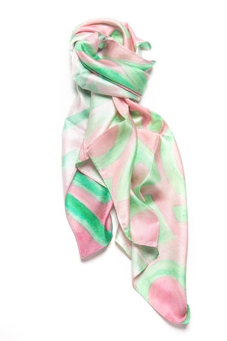 LOVEVOLVE® Scarf: Pink & Green, Silk