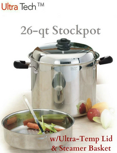 26Qt Ultra-Core Stockpot w/Ultra-Temp Lid and Canning/Steamer Basket