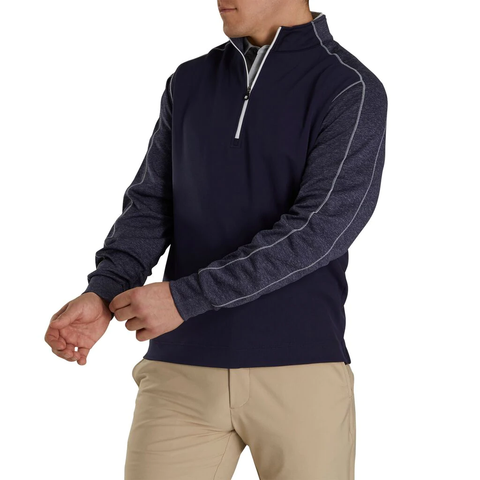 FootJoy Tonal Heather Navy 1/2 Zip Pullover