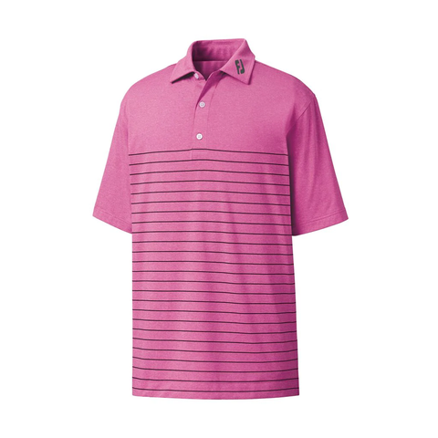 FootJoy Lisle Engineered Heather Iced Berry/Navy Highlands Logo Pinstripe Polo